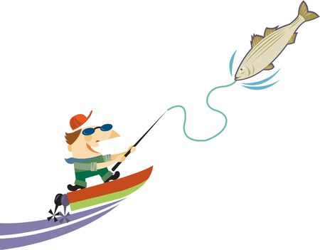 one man only: A man on a motorboat reeling in a large fish