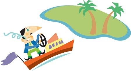 oversee: A man smoking a cigarette while driving a boat towards an island with palm trees on it