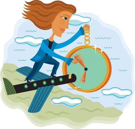 A woman standing on a flying airplane holding a clock Stock Photo