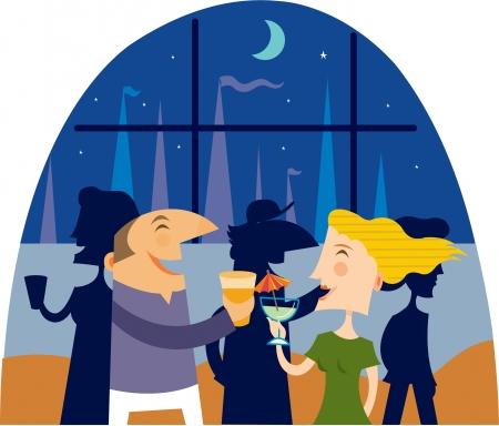 A man and woman having drinks at a yacht club Фото со стока