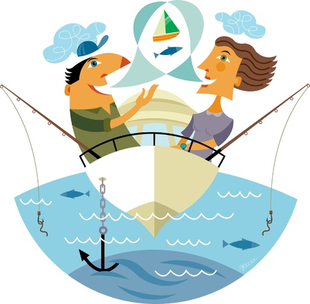 anchor man: A man and a woman fishing in a boat Stock Photo