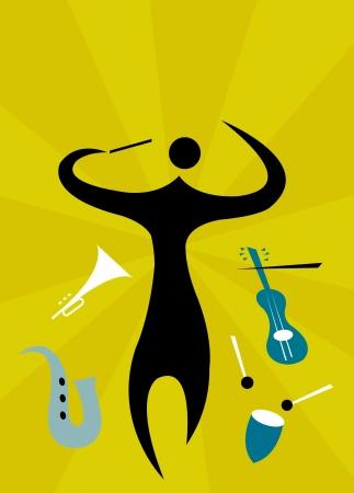 instrumentos musicales: El hombre la realizaci�n de orquesta de instrumentos musicales