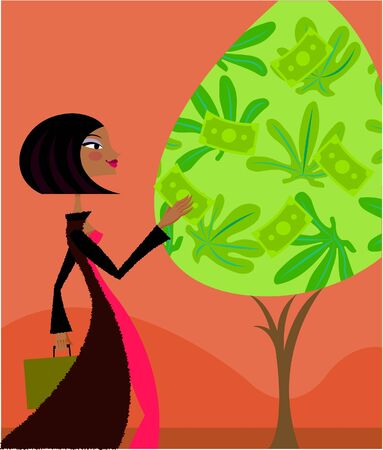 A woman plucking bank notes from a money tree photo