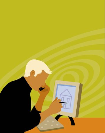Man searching for houses online Stock Photo - 15207563