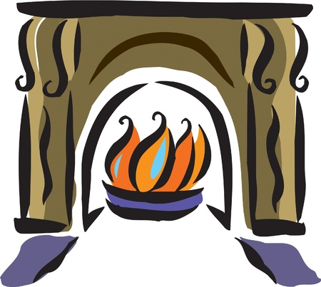 fireplace: Drawing of a fireplace Stock Photo