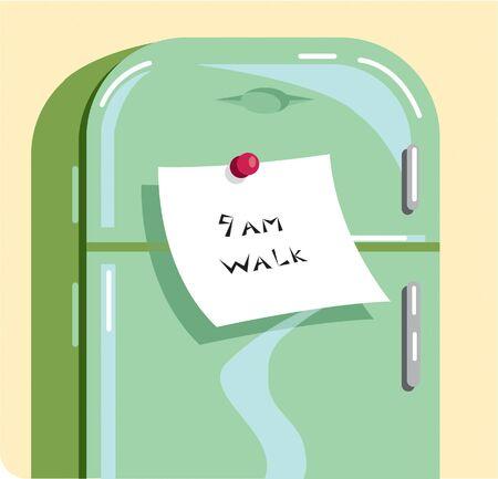 refrigerator: A note saying 9AM WALK stuck on a refrigerator