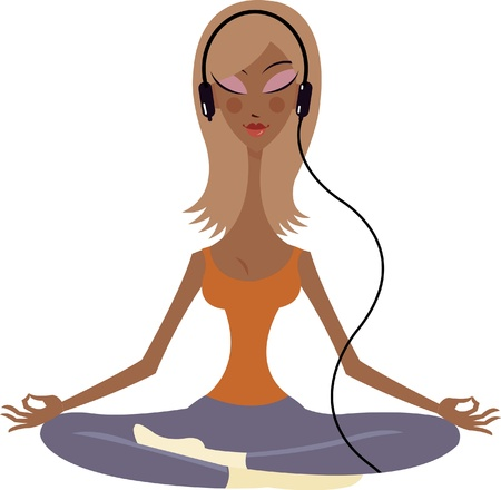 health cartoons: A woman with a headphone meditating in the lotus position