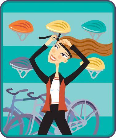 A woman putting on a bike helmet Reklamní fotografie - 15209102