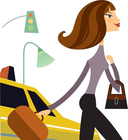 a woman holding a briefcase while stepping away from a taxi