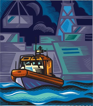 scratchboard: A coast guard boat near an industrial shoreline