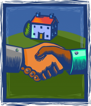 seller: Two hands shaking with a house in the background