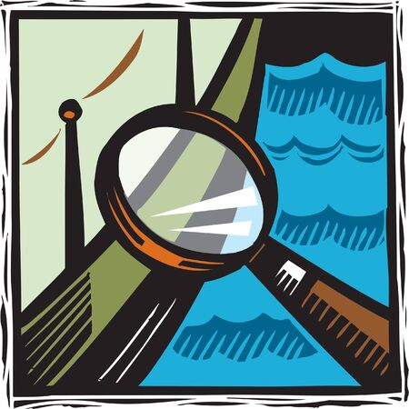 A magnifying glass looking at a boat Imagens