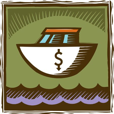 scratchboard: An image of a boat with a dollar sign on it Stock Photo