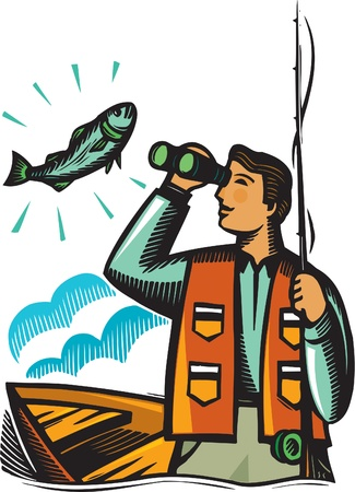 A fisherman looking at a fish through his binoculars Zdjęcie Seryjne
