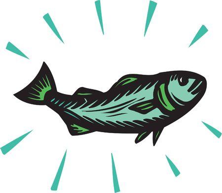 scratch board: A green fish
