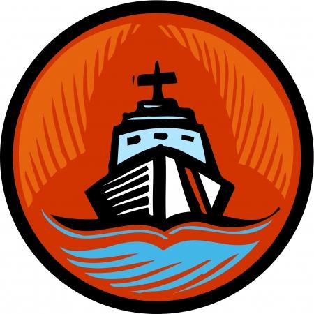 Illustration of a coast guard boat in an orange circle Zdjęcie Seryjne