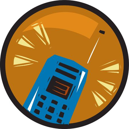 An illustration of a cell phone in an orange circle Stock Illustration - 15208500