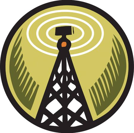 scratchboard: A radio tower in an orange circle Stock Photo