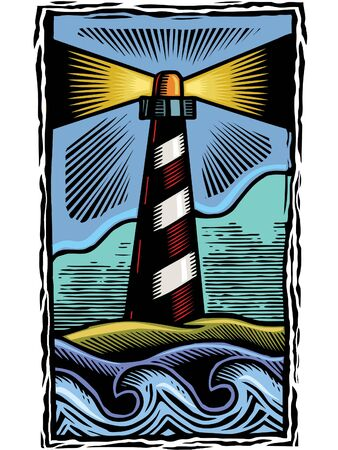 A print of a lighthouse by the sea Stock Photo - 15209377