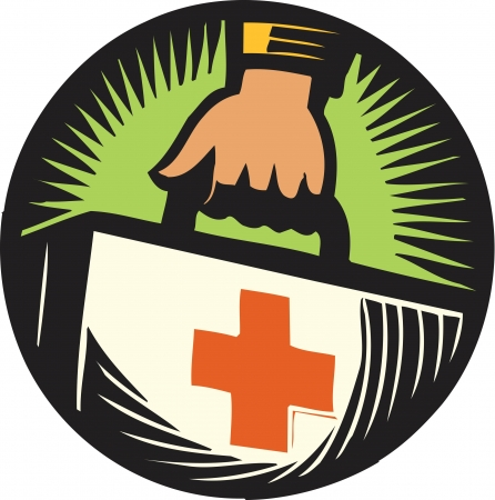 Hand holding first aid kit