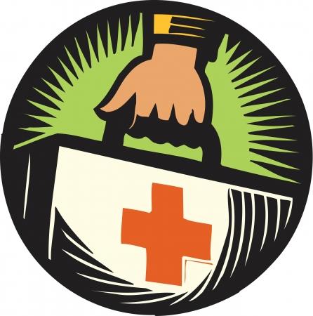 Une main tenant un kit de premiers secours Banque d'images - 15208352