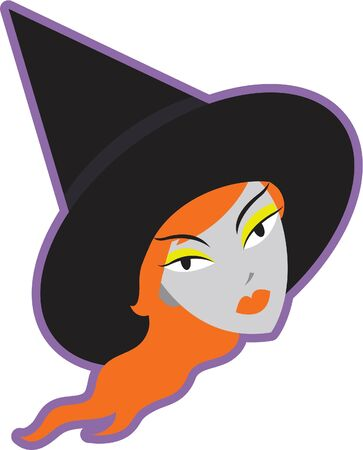 imagezoo: A witchs head on a white background Stock Photo