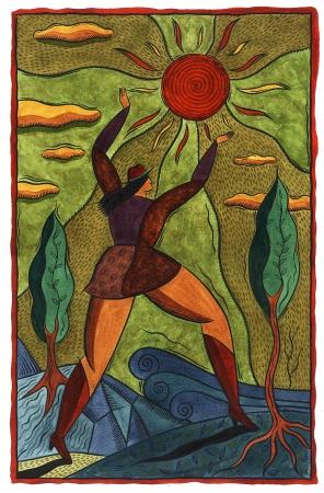 woman reaching for the sun Standard-Bild