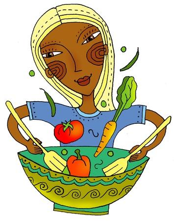 imagezoo: girl tossing healthy salad