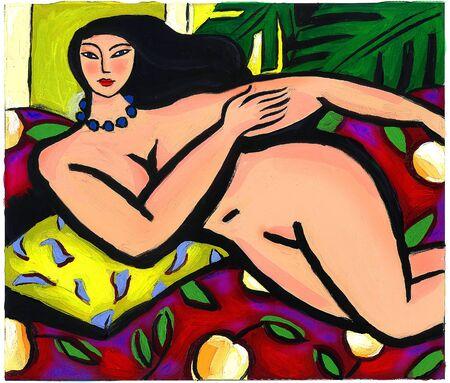 Illustration of a naked lady lounging Stock Illustration - 15209481