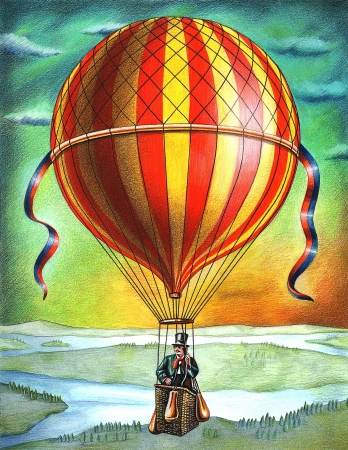 A man in a hot air balloon