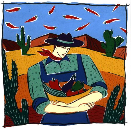imagezoo: farmer with basket of vegetables