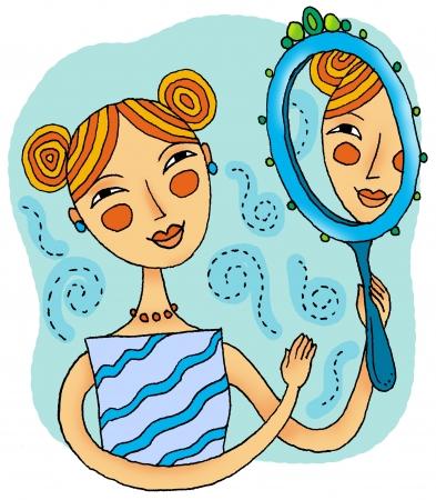 spiegels: Een meisje lacht naar haar reflectie in de spiegel Stockfoto