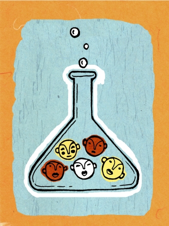 Drawing of faces in a beaker