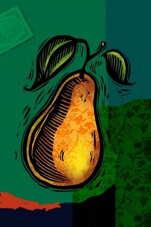 A decorative pear collage Stock Photo - 15209412