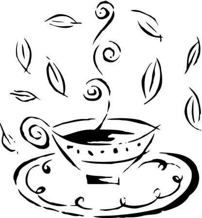 chinaware: Drawing of a hot cup of tea
