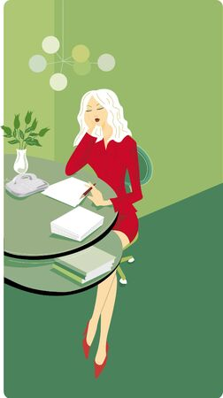 essay: Businesswoman sitting at her desk and writing a report Stock Photo