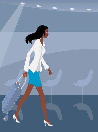 Businesswoman walking with her luggage in an airport Stock Photo - 15207614