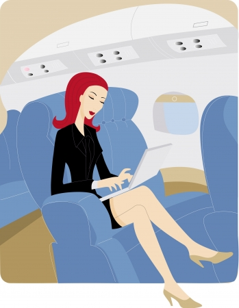 using laptop: Businesswoman using a laptop while on an airplane Stock Photo