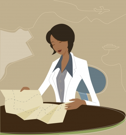 Businesswoman reading a map