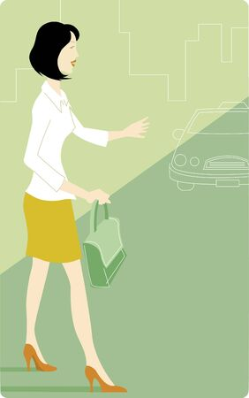 one woman only: Businesswoman signaling for a taxi