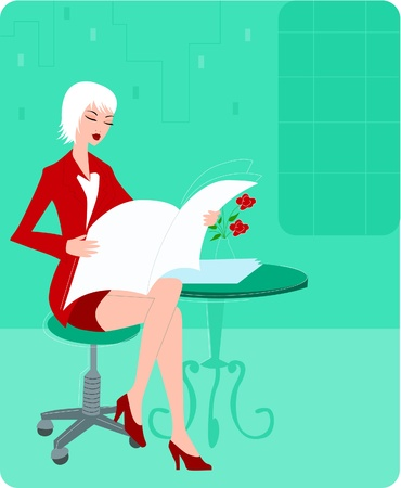 Businesswoman reading a newspaper Stock Photo - 15207920