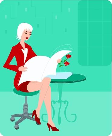 studio zoo: Businesswoman reading a newspaper