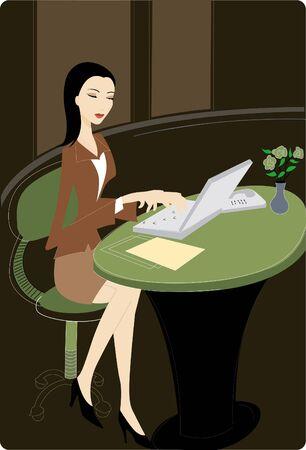 그녀의 노트북을 사용하는 사업가