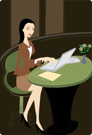 using laptop: Businesswoman using her laptop Stock Photo