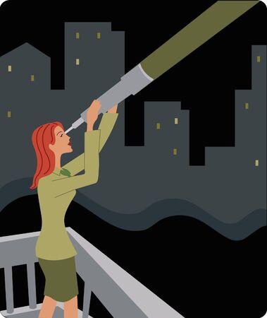 Businesswoman looking through a telescope Stock Photo - 15207559