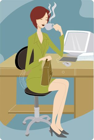 one woman only: Businesswoman taking a coffee break at her desk