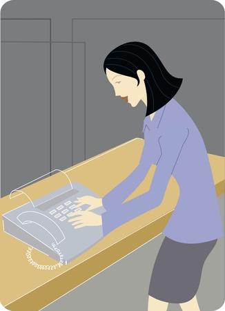secretarial: Businesswoman sending a fax Stock Photo