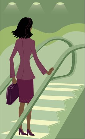 one woman only: Businesswoman riding an escalator Stock Photo