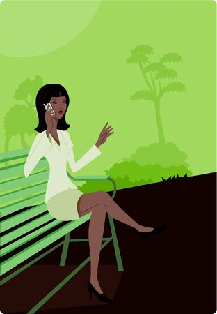 Businesswoman talking on her cell phone while sitting on a park bench Stock Photo - 15207922