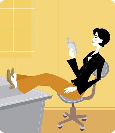 彼女の足で実業家リラックスして本を読んで